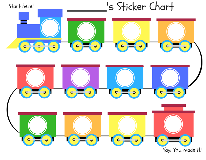 Printable Sticker Chart Behavior Free Train