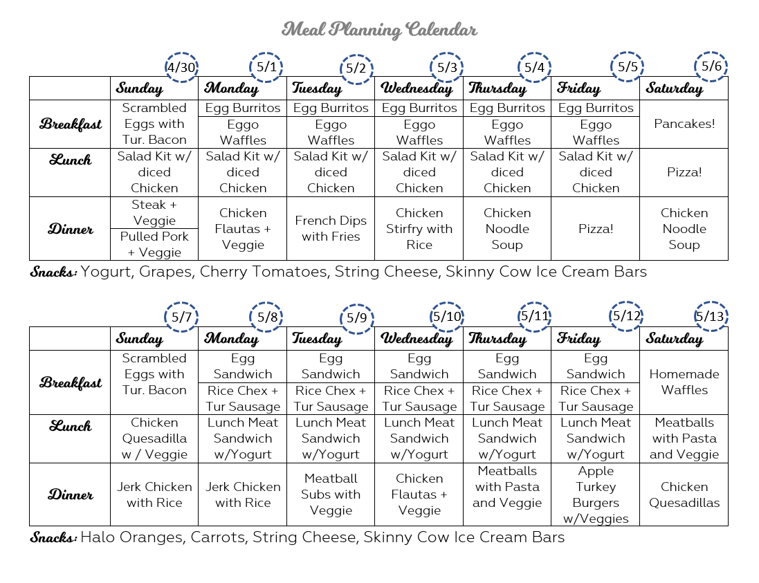 meal plan schedule